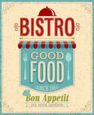 Obraz Vintage Bistro plakát. Vektorové ilustrace.