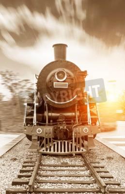 Obraz vintage černá parní pohon železniční vlak