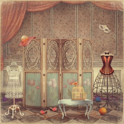 Obraz Vintage figurína a obrazovky v místnosti, módní a Femini