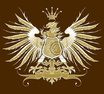 Vintage heraldický znak (orel, koruna a pásky, štít & lilie)