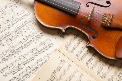 Obraz Vintage housle na notový záznam.