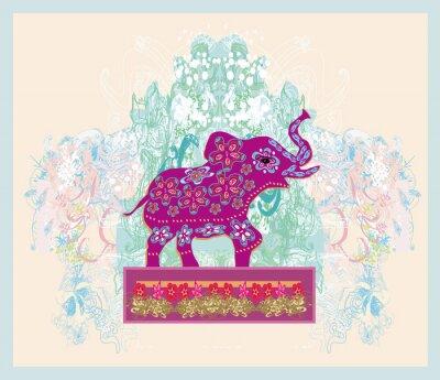 Obraz Vintage Indian ornament se slonem