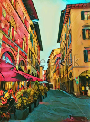 Obraz Vintage italské malé ulice ve Florencii. Tradiční staré architektury Itálie. Velkoformátové olejomalby. Moderní impresionismus kreslenou kresby. Kreativní umělecký tisk pro plátno, plakát nebo papír