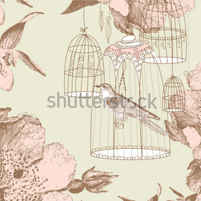 Obraz vintage karta s ptákem v kleci