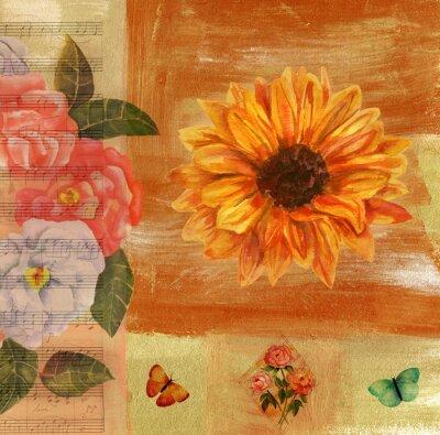 Obraz Vintage koláž s notový záznam, motýlů, růže a sunflow