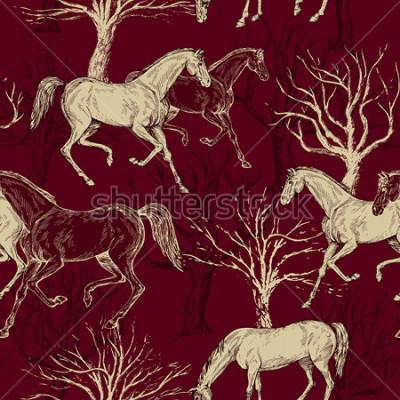 Obraz Vintage krásné pozadí s koněmi a stromy, kreativní les, retro vzor bezešvé, umění tkaniny, fantasy vektor tapety pro výzdobu a design