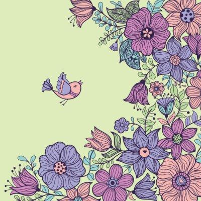 Obraz Vintage květinové bezproblémové vzorek. Vektorové ilustrace.
