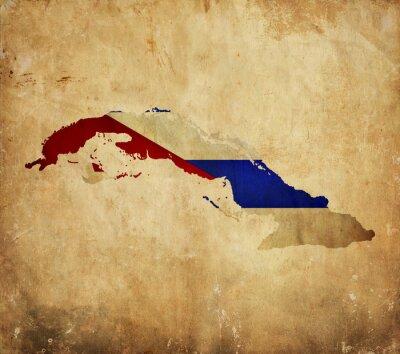 Obraz Vintage mapa Kuby na grunge papír