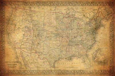 Obraz Vintage mapa Spojených států 1867