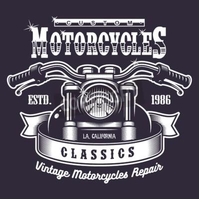 Obraz Vintage motocykl tisku. Monochromatický na tmavém pozadí
