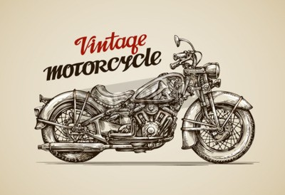 Obraz Vintage motocyklu. Ručně kreslenými motorka vektorové ilustrace
