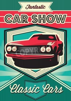 Obraz Vintage plakát pro výstavu automobilů