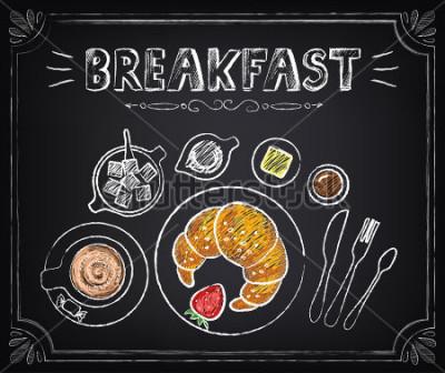 Obraz Vintage plakát. Snídaně. Croissant a káva. Zobrazit na stole design v retro stylu
