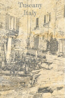 Vintage porch on street in Tuscany, sketch on old paper