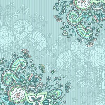 Obraz Vintage pozadí s doodle květiny na modré