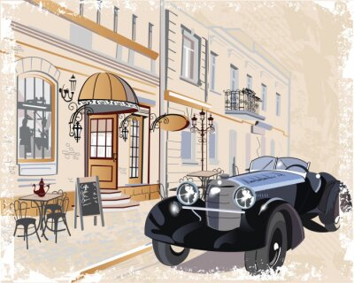 Obraz Vintage pozadí s retro auto a hudebníků, staré výhledem na město.