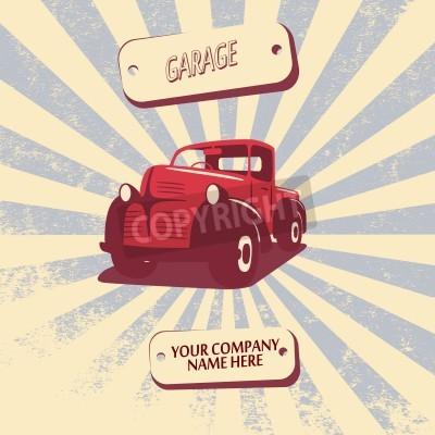 Obraz Vintage retro pickup truck auto vektorové ilustrace vhodné pro propagaci, t-shirt návrhy, atd.