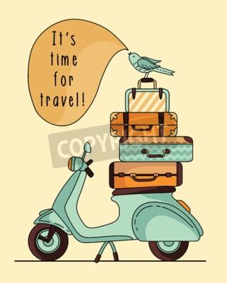 Obraz Vintage scooter poster design. Scooter se zavazadly