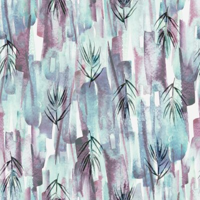 Obraz Vintage seamless watercolor pattern of plants, wild grasses, algae, twigs, branch, rosemary, tropical, palm, plant. watercolor stylish pattern. Abstract green of paint splash. Trendy background.
