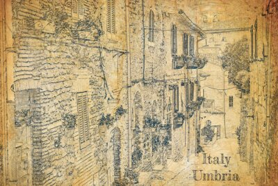 Vintage street in small town, Umbria, sketch on old paper