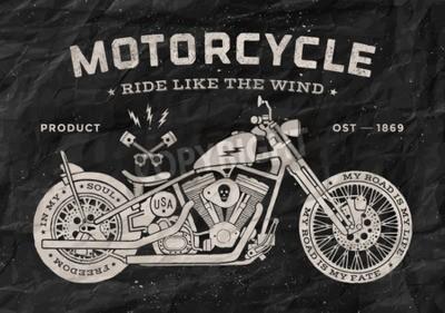 Obraz Vintage závod motocyklů staré školy ve stylu. Černé a bílé plakát, tisk na tričko. Vektorové ilustrace.