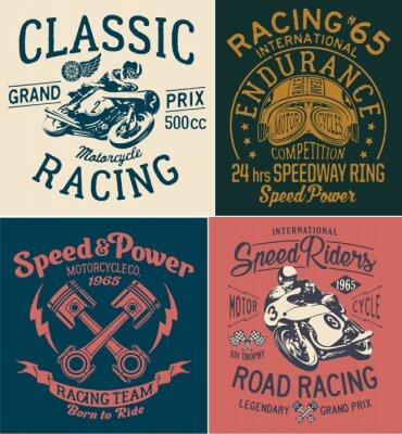 Obraz Vintage závodní motocyklové výtisky pro tričko chlapecké tričko