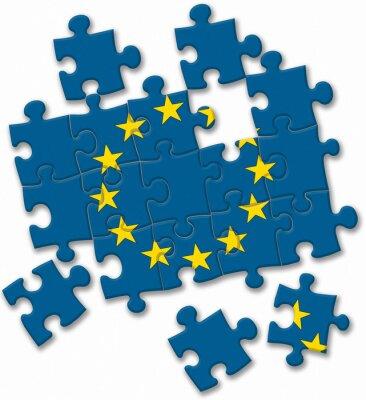 Obraz Vlajka Evropské unie puzzle EU na bílém pozadí