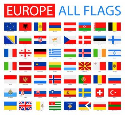 Obraz Vlajky Evropy - Full Vector Collection. Vektor Sada plochých evropských vlajek.
