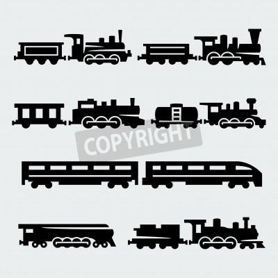 Obraz vlaky siluety set