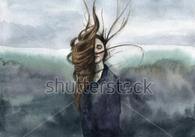 Obraz vlasy mávají ve vánku, dívka, náladový akvarel
