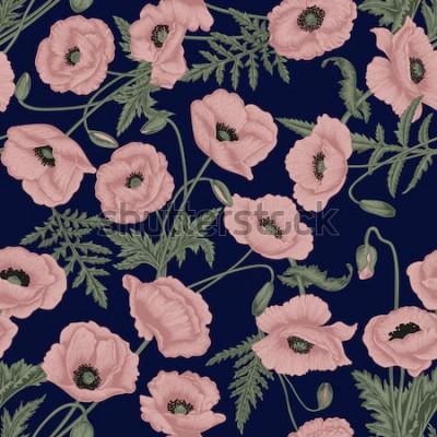 Obraz Vlčí mák. Vektorové bezešvé pozadí v retro stylu. Rostlinný vzor. Botanická kresba.
