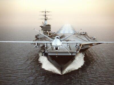 Obraz Vojenská letadla Drone spuštění z letadlové lodi na stávkové mise. 3d rendering