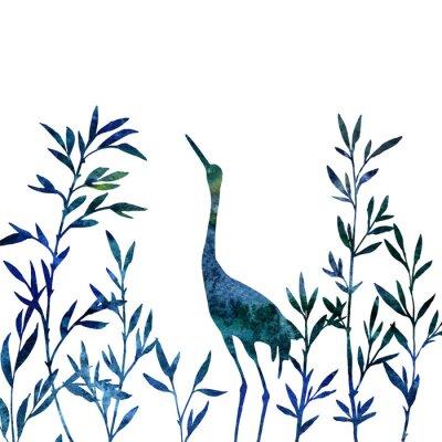 Obraz volavka v houští bambusových větví s listy