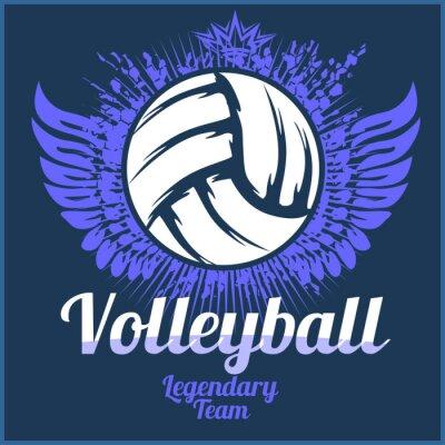 Obraz Volejbal mistrovství logo s míčem - vektorové ilustrace.