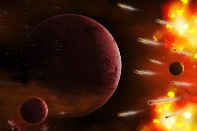 Obraz Výbuch prostor / výbuchu prostoru s komety útoku planety. Digitální retuš.