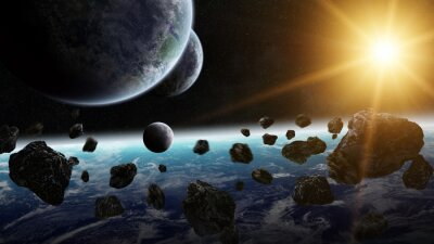 Obraz Východ slunce nad skupinou planet ve vesmíru