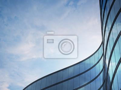 Obraz Výhled na výškovou budovu a tmavou ocelovou okenní soustavu s mraky odrážející se na sklo. Podnikatelský koncept budoucí architektury, pohled do úhlu rohu budovy. 3d rendering