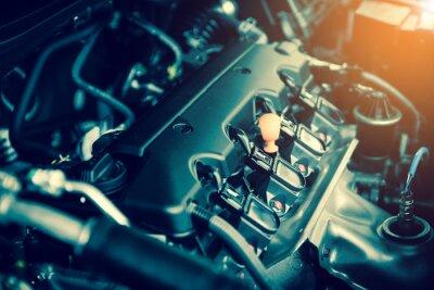 Obraz Výkonný motor auta. Vnitřní provedení motoru se spalováním a ventilem v tmavém tónu