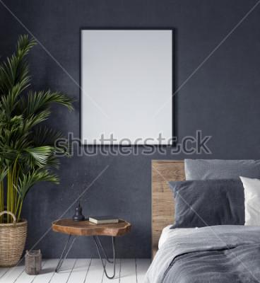 Obraz Vysmívat se plakát v ložnici interiéru, etnický styl, 3d vykreslování
