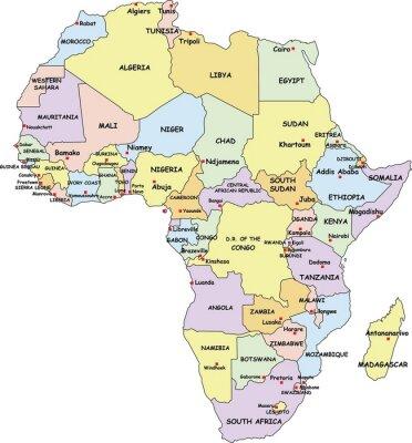 Obraz Vysoce detailní Afrika politické mapě.