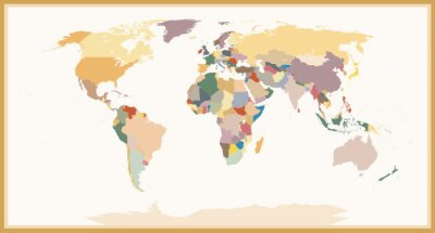 Obraz Vysoce detailní Blind Politické Mapa světa vintage barvy