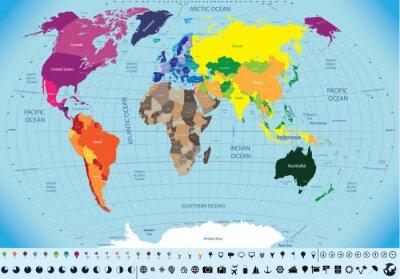 Obraz vysoce detailní mapa světa
