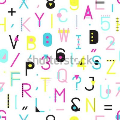 Obraz Vzor bezešvé barevné abecedy s čísly a interpunkci geometrických tvarů izolovaných na bílém pozadí. Kreativní typografie obtékání textury ve stylu Memphis. Abstraktní bederní ilustrace.