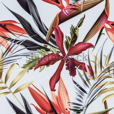 Obraz Vzor bezešvé pozadí tropických květin, rostlin a listů