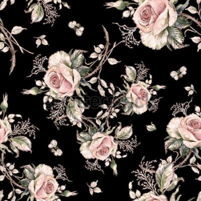 Obraz Vzor bezešvé růže a čmelák-7