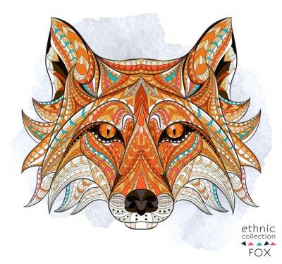 Obraz Vzorované hlavu lišky na pozadí grunge. Africká / Ind / totem / tetování design. To může být použit pro návrh trička, tašky, pohlednice, plakát a tak dále.