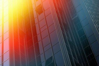Obraz Wall of black modern glazed glass building