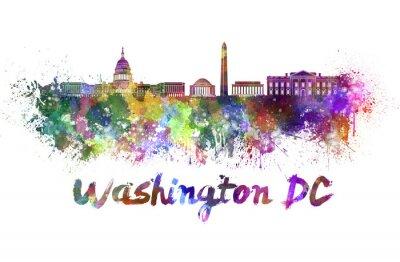 Obraz Washington DC panorama v akvarelu