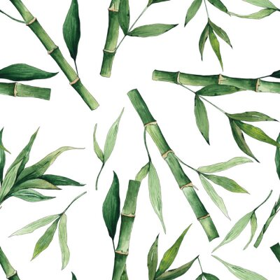Obraz Watercolor handpainted seamless pattern with green tropical bamboo and leaves