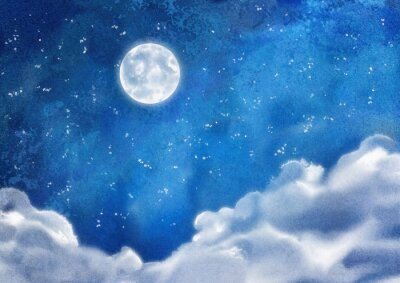 Obraz Watercolor Nightly Clouds